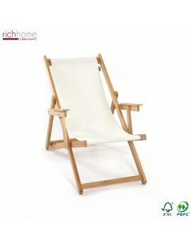 Liegestuhl weiß 100% Baumwolle, Gartenliege weiß, Strandstuhl weiß Holzgestell