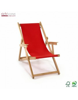 Liegestuhl rot 100% Baumwolle, Gartenliege rot, Strandstuhl rot Holzgestell