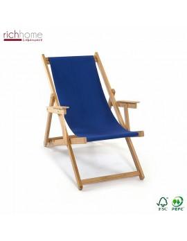 Liegestuhl blau 100% Baumwolle, Gartenliege blau, Strandstuhl blau Holzgestell