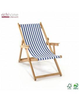 Liegestuhl blau-weiß gestreift , Gartenliege, Strandstuhl blau-weiß