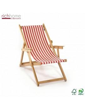 Liegestuhl rot-weiß gestreift , Gartenliege, Strandstuhl rot-weiß