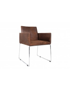 Stuhl braun mit Armlehne, Besucherstuhl braun, Stuhl mit Armlehne braun