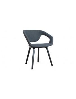 Design Stuhl aus Holz Kunststoff, dunkelgrau schwarz