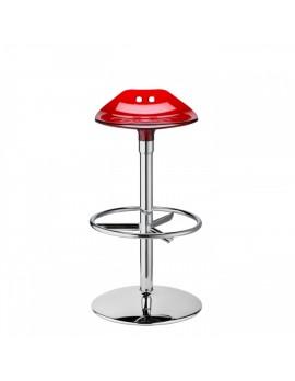 Barstuhl, rot transparent, Sitzhöhe 75 cm, chrom Drehbar