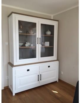 Vitrinenschrank weiß, Geschirrschrank weiß, Vitrine weiß  im Landhausstil, Maße 220 x 165 cm