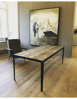 Tisch Metall-Gestell, Esstisch Holz Metall Eiche, Breite 240 cm