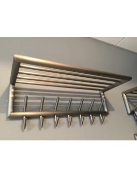 Wandgarderobe mit Hutablage, Garderobe Metall 7 Haken mit  Ablage, Breite 75 cm