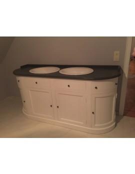 Waschtisch weiß im Landhaus, Badmöbel weiß Massivholz, Breite 190 cm