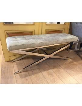 Bank gepolstert verchromt, Sitzbank taupe verchromt, Breite 122 cm