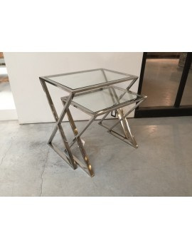 Beistelltisch Metall silber 2er Set, Beistelltisch Glas verchromt, Breite 50-60 cm