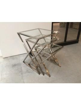 Beistelltisch Metall silber 3er Set, Beistelltisch Glas verchromt, Breite 34-50 cm