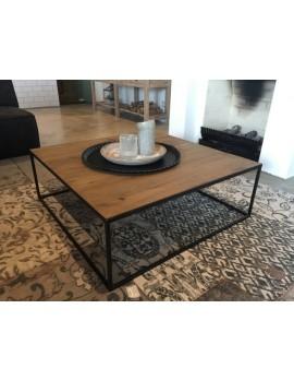 Couchtisch Metall-Holz, Tisch schwarz-braun, Maße 100x100 cm