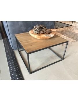 Couchtisch Metall-Holz, Tisch schwarz-braun, Maße 60x60 cm
