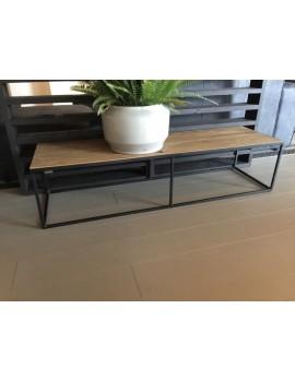 Couchtisch Metall-Holz, Tisch schwarz-braun, Breite 150 cm