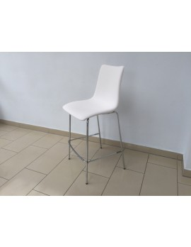 Barstuhl weiß gepolstert, Design Barstuhl verchromtes Gestell, Sitzhöhe 65 cm