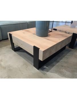 Couchtisch Metall-Gestell, Tisch Holz, Maße 70x70 cm
