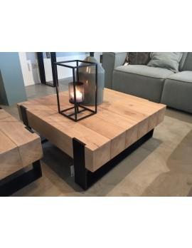 Couchtisch Metall-Gestell, Tisch Holz, Maße 88x88 cm