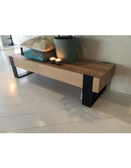 Couchtisch Metall-Gestell, Tisch Holz, Breite 150 cm