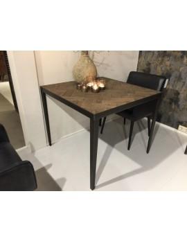 Tisch quadratisch Metall-Gestell, Bistrotisch Metall Industriedesign, Esstisch Holz Metall Eiche, Maße 90x90 cm