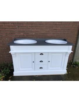 Waschtisch weiß Landhaus, Doppelwaschtisch weiß Landhausstil, Massivholz Waschtisch weiß