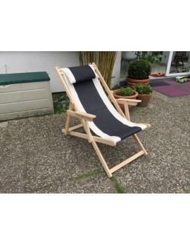 Liegestuhl aus Massivholz und Textil 100 % Baumwolle, Strandstuhl Farbe schwarz-weiß- creme, Liege Textil Holz