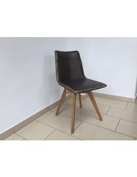 Stuhl gepolstert braun vintage, Stuhl mit Holzgestell, Besucherstuhl braun