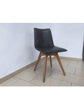 Stuhl gepolstert  anthrazit-grau, Stuhl mit Holzgestell, Besucherstuhl anthrazit-grau