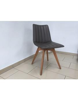 Stuhl gepolstert grau  vintage, Stuhl grau mit Holzgestell, Besucherstuhl grau