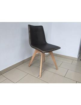 Stuhl gepolstert braun  vintage, Stuhl braun mit Holzgestell, Besucherstuhl braun
