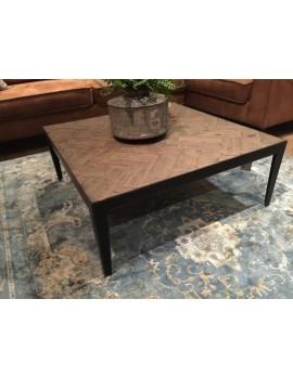 Couchtisch quadratisch Metall-Gestell, Tisch Metall Industriedesign, Couchtisch Holz Metall Eiche, Maße 90x90 cm