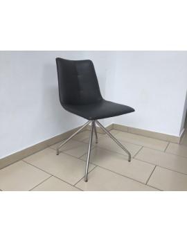 Stuhl gepolstert anthrazit-grau, Stuhl anthrazit-grau mit Holzgestell, Besucherstuhl anthrazit