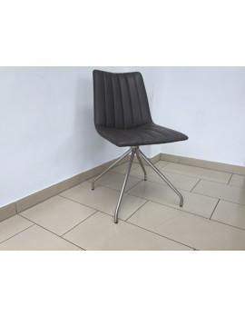 Stuhl gepolstert grau, Stuhl grau mit Holzgestell, Besucherstuhl grau