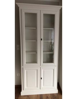 Geschirrschrank weiß,  Vitrine weiß, Wohnzimmerschrank im Landhausstil, Breite 101 cm