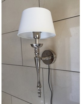 Wandlampe silber mit Lampenschirm weiß, Wandleuchte verchromt Landhaus Lampenschirm weiß