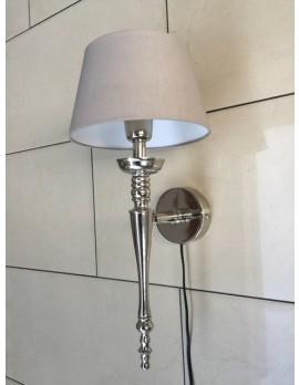 Wandlampe silber mit Lampenschirm grau-taupe, Wandleuchte verchromt Landhaus Lampenschirm grau