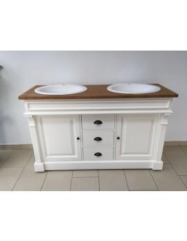 Waschtisch weiß-braun Massivholz, Waschtisch im Landhausstil, Badmöbel Landhaus, Breite 150 cm