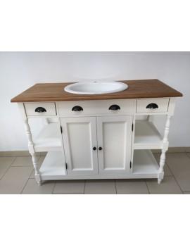 Waschtisch weiß Massivholz, Landhaus Waschtisch weiß mit Schubladen, Badmöbel weiß Landhaus