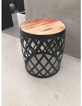 Beistelltisch rund Metall schwarz,  Beistelltisch Industrie schwarz, Durchmesser 42 cm