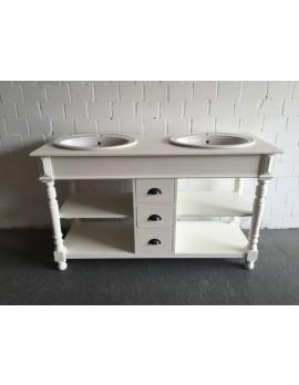 Waschtisch weiß Massivholz, Doppelwaschtisch im Landhausstil, Spiegel weiß Massivholz