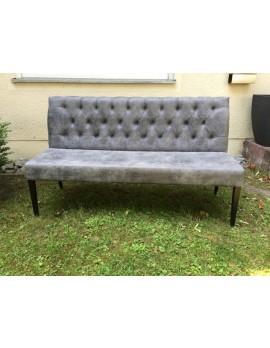 Bank grau Chesterfield-Polsterung, Sitzbank grau vintage, Breite 162 cm