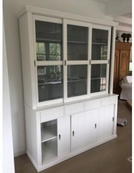 Vitrinenschrank weiß, Geschirrschrank weiß, Vitrine weiß im Landhausstil, Buffet-Schrank weiß, Breite 166 cm