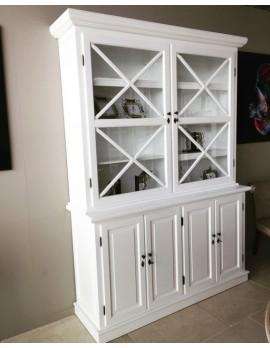 Vitrine weiß, Geschirrschrank aus Massivholz weiß, Küchenschrank weiß im Landhausstil, Breite 167 cm