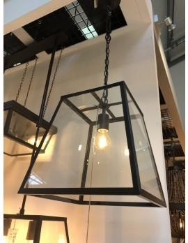 Pendelleuchte schwarz Glas-Metall Landhaus, Hängeleuchte schwarz Landhausstil, Hängelampe schwarz Metall-Glas