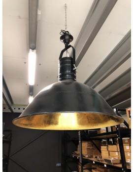 Pendelleuchte schwarz-Gold Metall Industriedesign, Hängeleuchte Industrie Metall, Hängelampe Gold-schwarz Metall, Durchmesser 90 cm