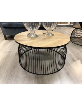 Couchtisch schwarz Metall, Beistelltisch schwarz, Couchtisch rund modern, Durchmesser 80 cm