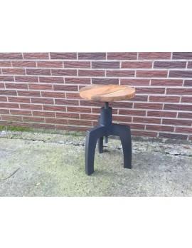 Hocker Industrie schwarz, Hocker Metall-Holz schwarz, Höhe 48-54 cm
