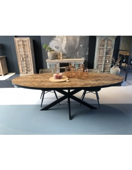 Esstisch oval Metall Gestell, Tisch oval Industriedesign, ovaler Tisch Metall Holz, Breite 210  cm