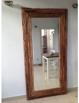 Spiegel Massivholz Teak, Wandspiegel Altholz, Maße 200 x 80 cm