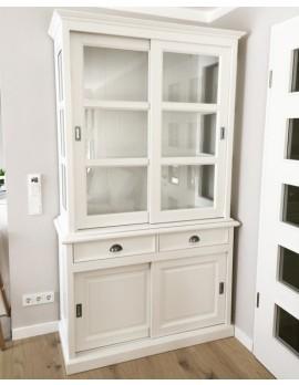 Vitrinenschrank weiß mit Schiebetüren,  Geschirrschrank weiß mit vier Türen im Landhausstil, Vitrine weiß Landhaus, Breite 125 cm