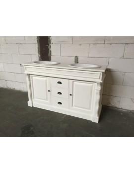 Waschtisch weiß Massivholz Landhaus, Waschtisch weiß-braun im Landhausstil, Breite 150 cm
